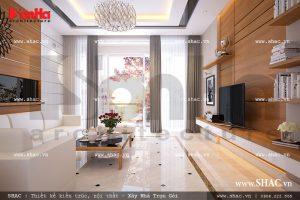 Thiết kế phòng khách hiện đại, kết hợp hoàn hảo giữa chất liệu gỗ ốp tường cùng tone trắng