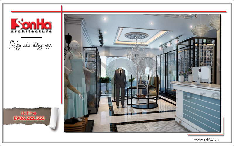 Mẫu thiết kế nội thất shop quần áo đẹp được bày trí khá mãn nhãn hứa hẹn sẽ là không gian kinh doanh tiện nghi được yêu thích nhất