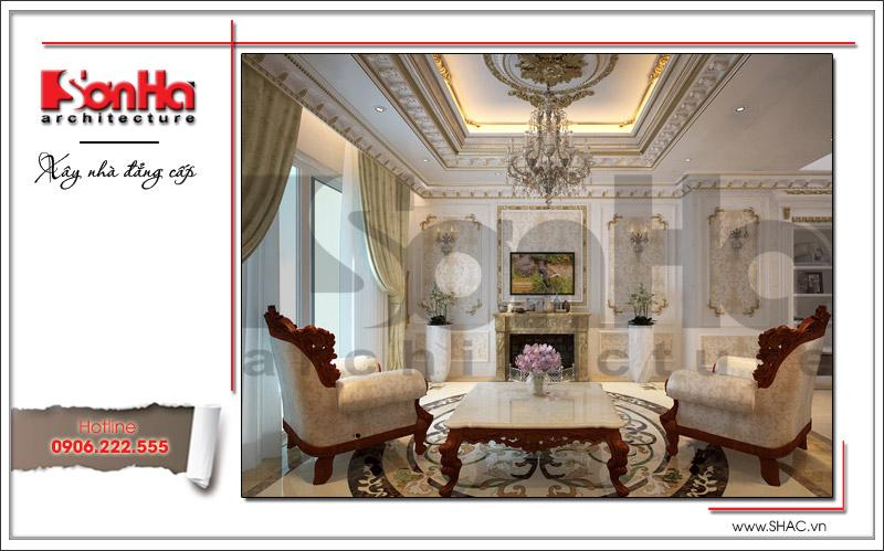 Thiết kế nội thất phòng khách phong cách cổ điển sang trọng tại nhà phố