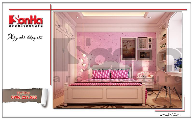 Phòng ngủ dành con gái của gia chủ với nội thất gam màu hồng dễ thương