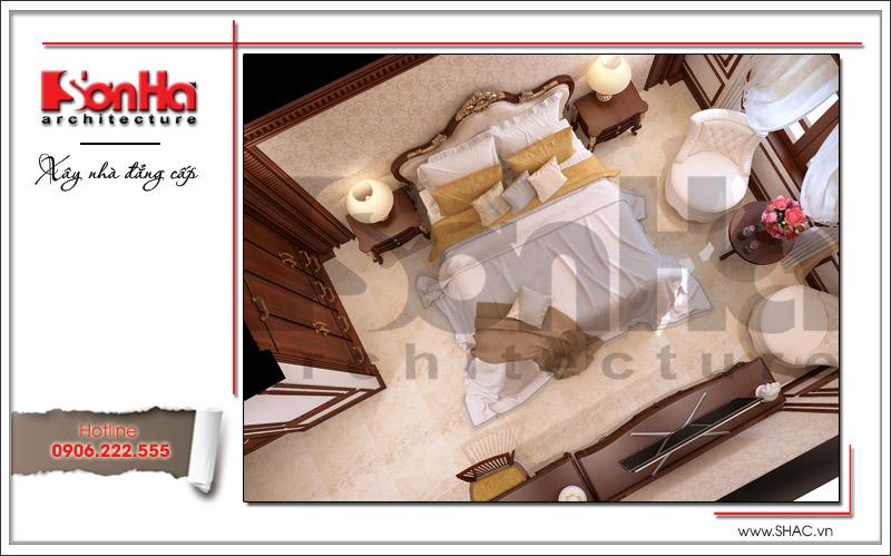 Cách bày trí nội thất khá hợp lý và ngăn nắp trong căn phòng ngủ được chủ đầu tư đánh giá cao