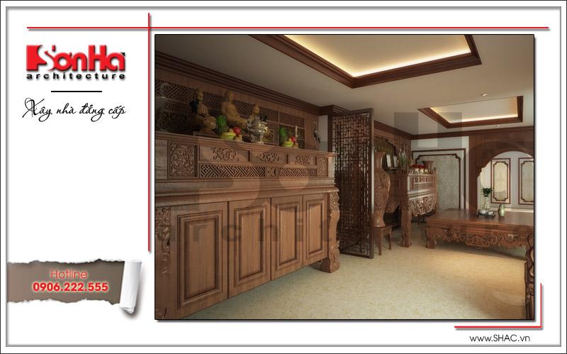 Không gian phòng thờ cổ điển trang nghiêm của nhà phố cổ điển tại Hà Nội