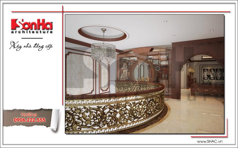 Mẫu thiết kế nội thất phòng thờ cổ điển tôn nghiêm của nhà phố tại Hà Nội