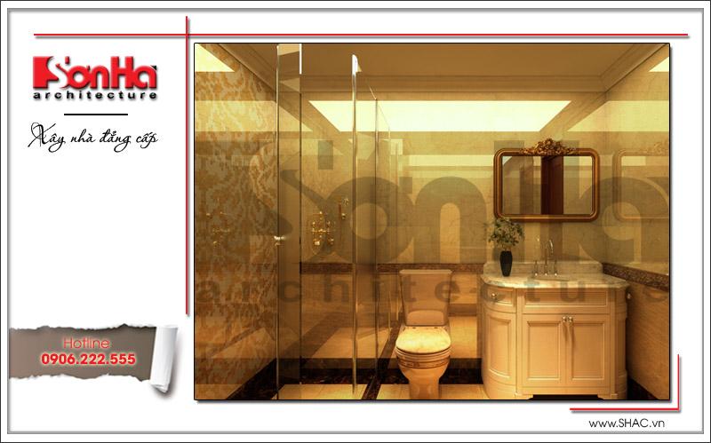 Mẫu thiết kế nội thất phòng tắm và WC cao cấp của nhà phố cổ điển tại Hà Nội