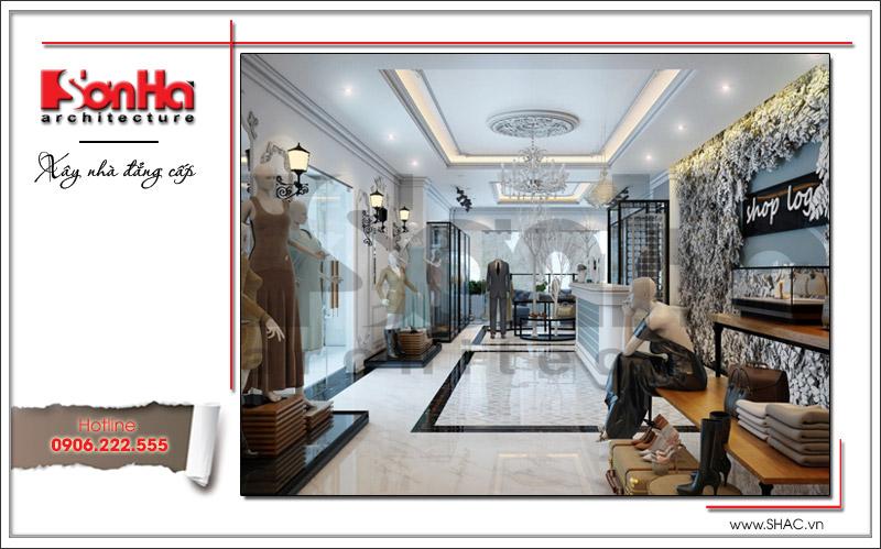 Phương án thiết kế nội thất shop quần áo tầng lửng nhà phố cổ điển của chị Hiền tại (Long Biên, Hà Nội)