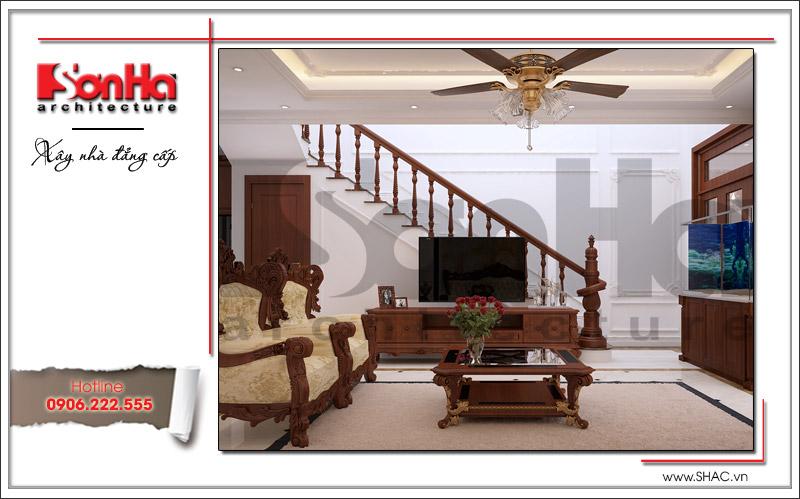 Thiết kế nội thất phòng khách cổ điển đơn giản và tiện nghi của biệt thự tại Quảng Ninh