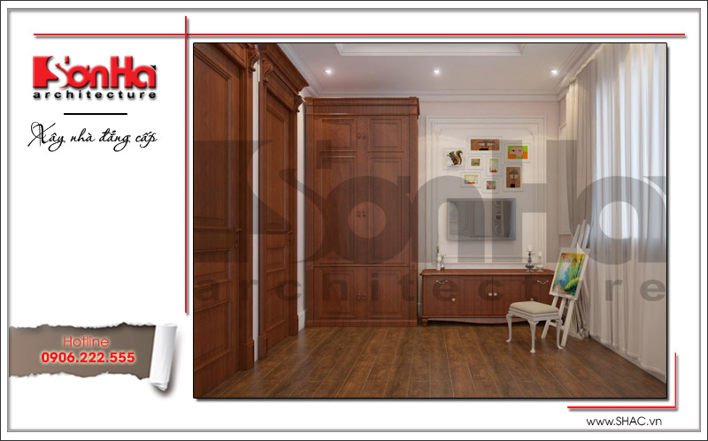 Không gian phòng ngủ con gái được trang bị nội thất tiện nghi với chất liệu gỗ cao cấp