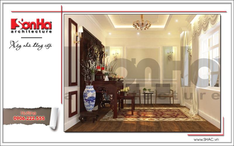 Mẫu thiết kế nội thất phòng thờ cổ điển trang nghiêm và tĩnh tại