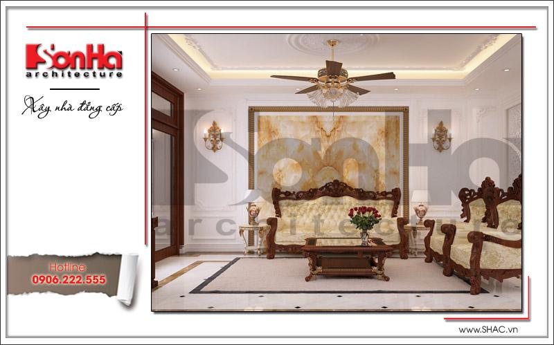 Phòng khách biệt thự cổ điển đẹp và tiện nghi tại Quảng Ninh