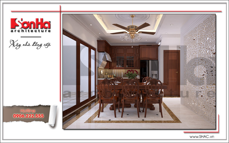 Thiết kế nội thất phòng bếp gỗ cổ điển đẹp với cách bày trí đồ đạc khoa học hợp lý