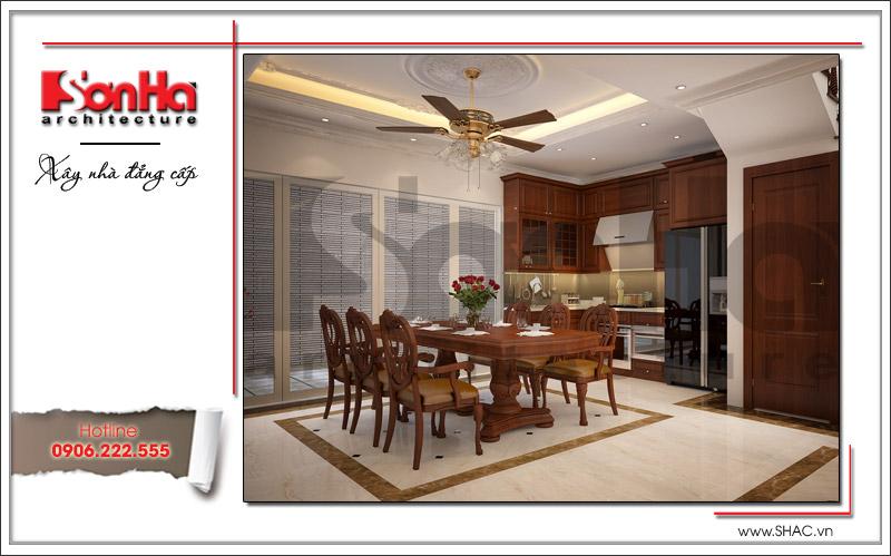 Phương án thiết kế nội thất phòng bếp ăn ấm cúng tiện nghi của biệt thự tại Quảng Ninh