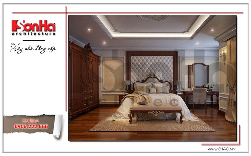 Phong cách cổ điển sang trọng thể hiện rõ qua từng chi tiết thiết kế nội thất của phòng ngủ biệt thự đẹp