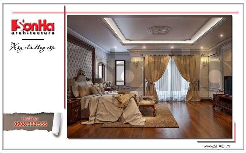 Phương án thiết kế nội thất phòng ngủ của biệt thự cổ điển được chủ đầu tư vô cùng yêu thích
