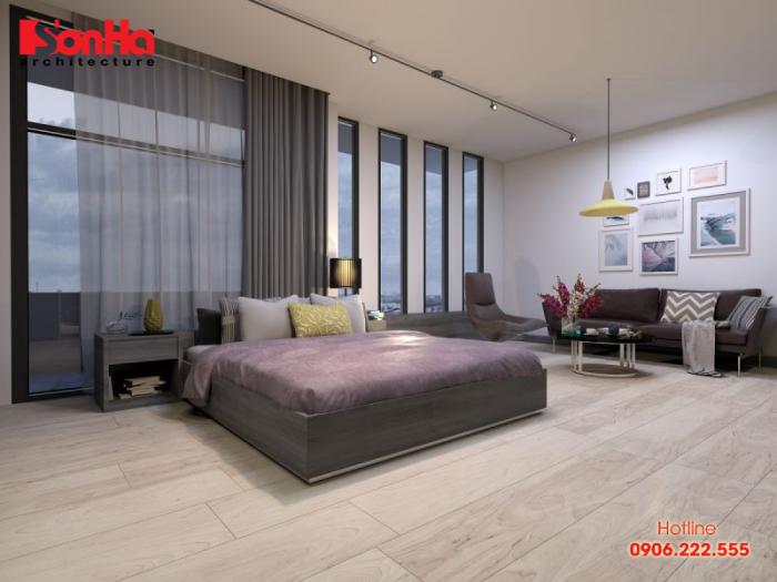 Mẫu thiết kế phòng ngủ chung cư phong cách hiện đại gam màu trầm ấm
