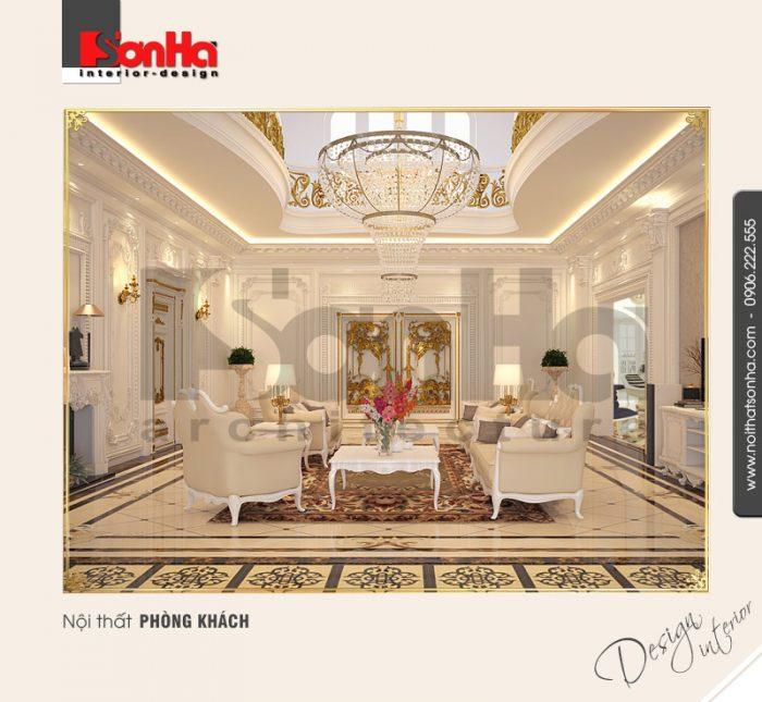1.Thiết kế nội thất phòng khách biệt thự phố sang trọng