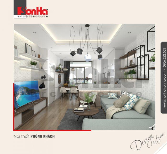 Mẫu thiết kế nội thất phòng khách căn hộ chung cư hiện đại đẹp xu hướng 2018 của SHAC