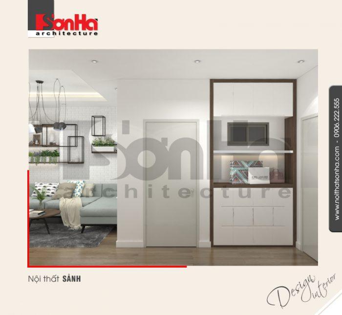 Không gian nội thất phòng khách căn hộ hiện đại khang trang với thiết kế tinh tế ấn tượng