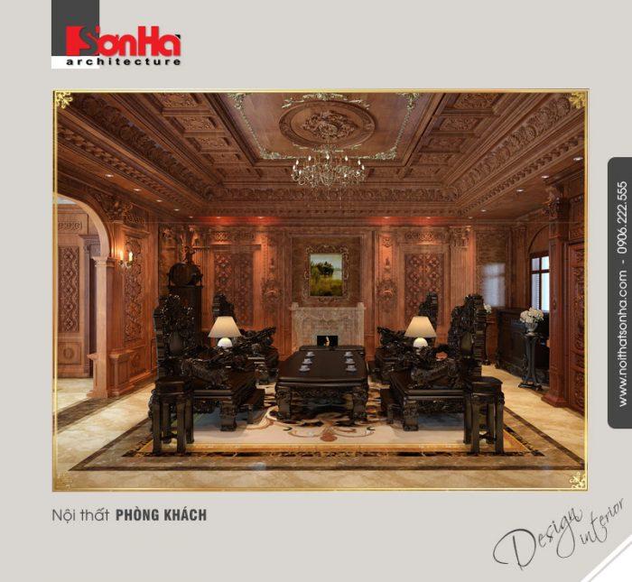 Thiết kế nội thất cổ điển càng đẹp với vật liệu gỗ tự nhiên được tạo hình tinh xảo