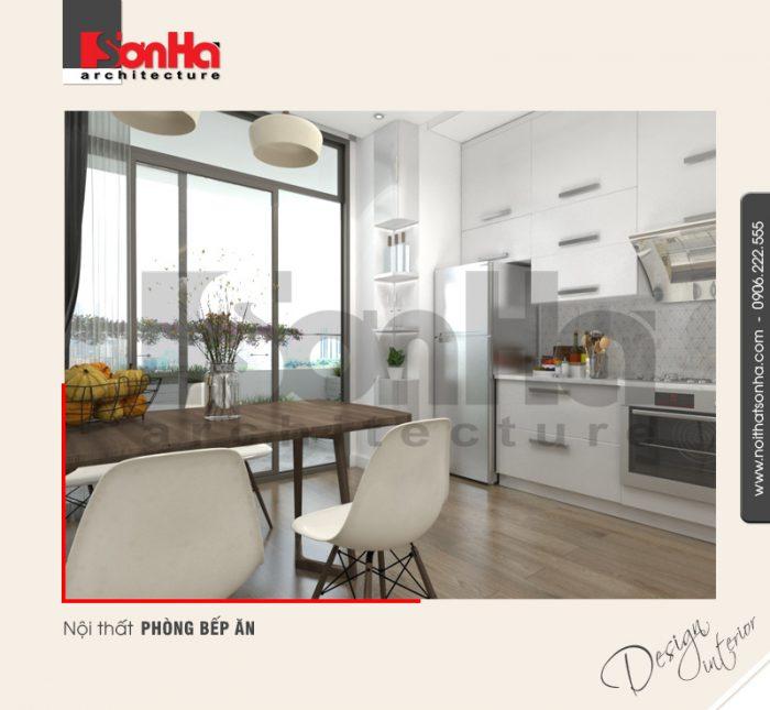 Không gian nội thất bếp ăn được thiết kế và bày trí ngăn nắp liền kề nhau tiện dụng