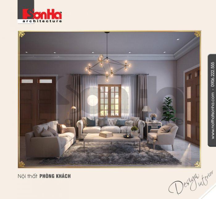 Thiết kế nội thất biệt thự cổ điển đẹp với phòng khách được trải thảm chất liệ bền và đẹp