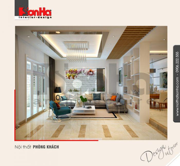 Mẫu thiết kế nội thất phòng khách hiện đại của biệt thự 3 tầng tại Hải Phòng được yêu thích