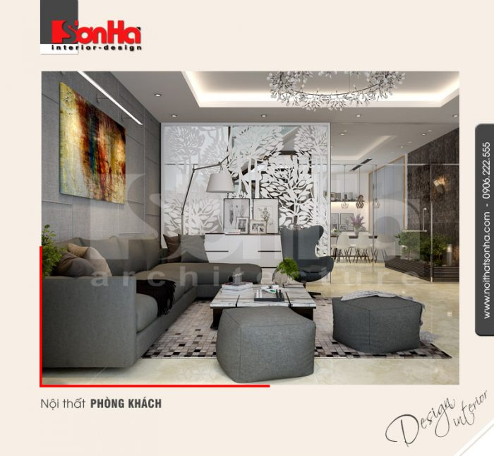 Mẫu nội thất phòng khách hiện đại nhà phố thiết kế đẹp điển hình xu hướng thiết kế 2018