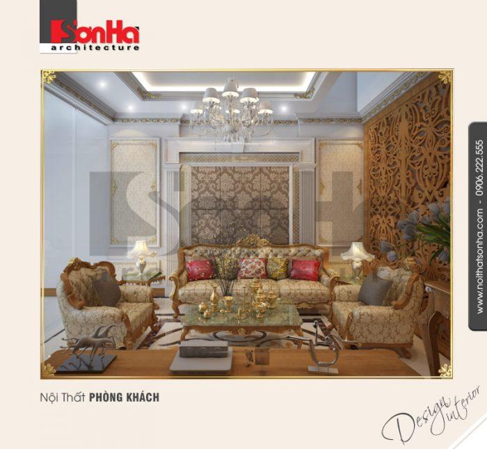 Phương án thiết kế nội thất phòng khách nhà phố cổ điển tại Quảng Ninh thân thiện tinh tế