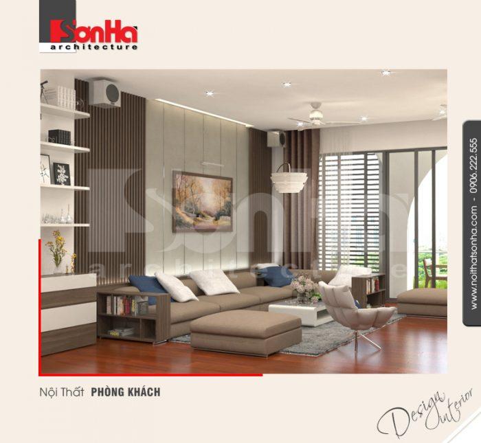 Thiết kế nội thất biệt thự hiện đại đẹp với vật liệu sàn gỗ công nghiệp kết hợp hài hòa