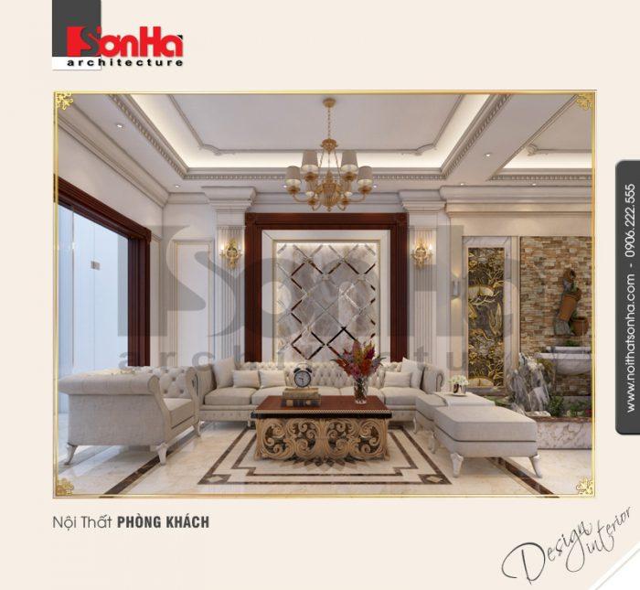 Không gian nội thất biệt thự cổ điển sang trọng với thiết kế nội thất phòng khách xa hoa