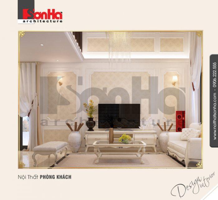 Cận cảnh các đường nét thiết kế của không gian nội thất phòng khách căn hộ chung cư
