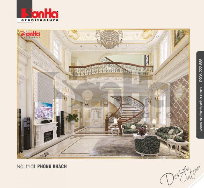 Mẫu nội thất phòng khách đẹp với gạch lát nền cao cấp được lựa chọn hài hòa với kiến trúc