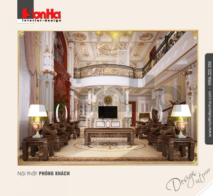 Thiết kế nội thất phòng khách biệt thự cổ điển bằng bộ bàn ghế đồng kỵ ấn tượng và cao cấp