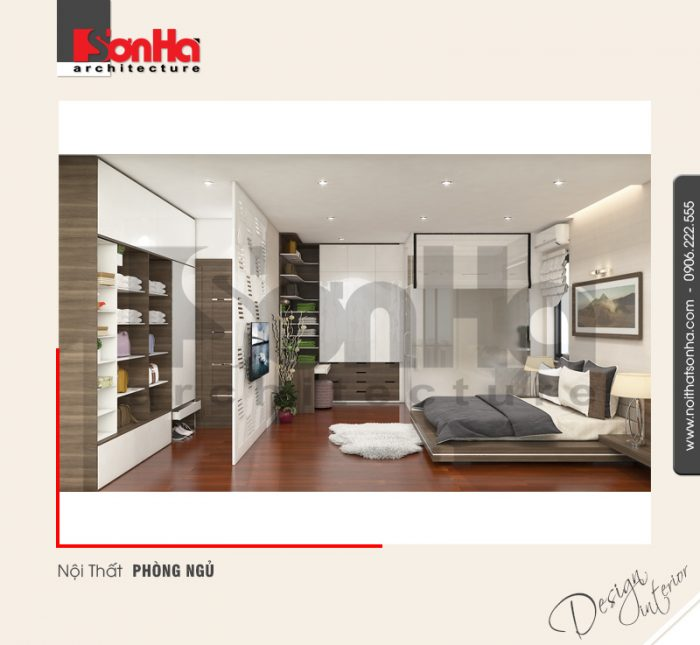 Không gian nội thất phòng ngủ được trang trí bởi những vật liệu cao cấp và có chiều sâu tinh tế