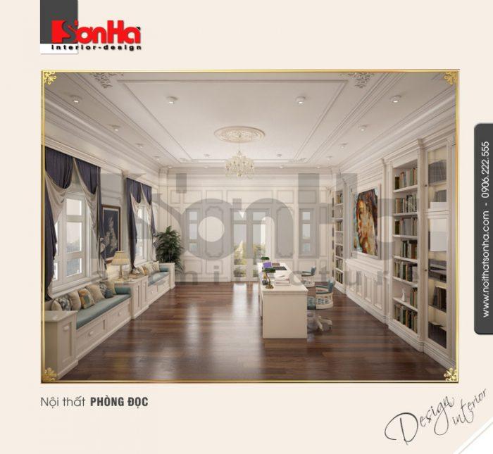 Phương án thiết kế nội thất phòng đọc trong không gian nội thất biệt thự cổ điển đẹp sang