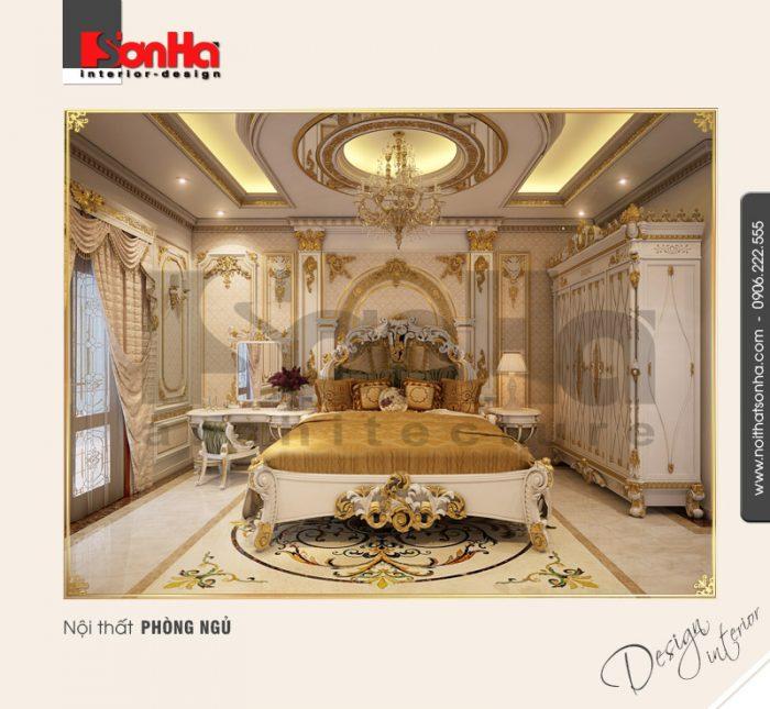 Mẫu thiết kế phòng ngủ cổ điển biệt thự đẹp với giấy dán tường ngoại nhập cao cấp