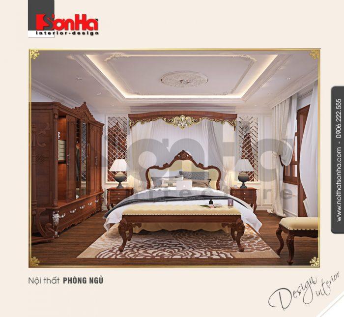 Thêm phương án thiết kế nội thất phòng ngủ căn hộ phong cách cổ điển xa hoa với đồ gỗ