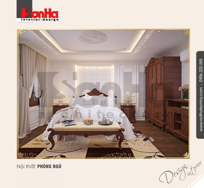 Đây cũng là mẫu thiết kế phòng ngủ chung cư phong cách cổ điển được CĐT yêu thích