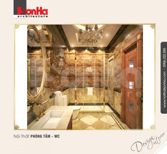 Thiết kế nội thất biệt thự cổ điển xa hoa với phòng tắm được trang bị thiết bị vệ sinh cao cấp