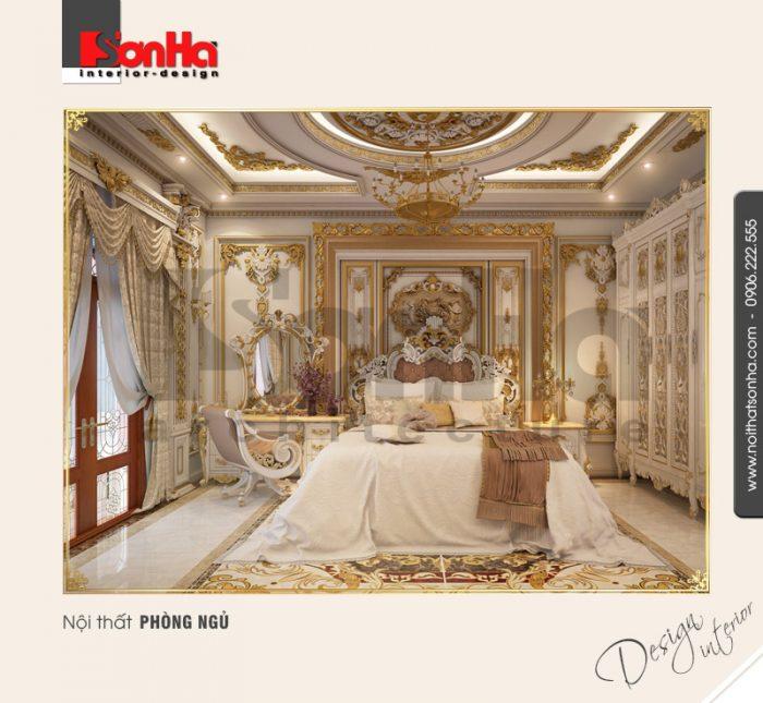 Tinh tế và xa hoa không kém chính là phương án thiết kế nội thất phòng ngủ biệt thự cổ điển