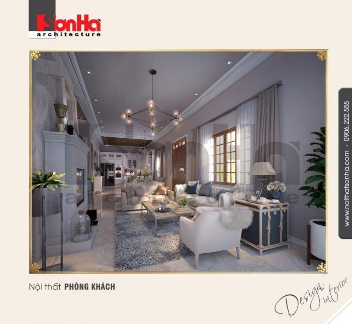 Thiết kế nội thất phòng khách phong cách cổ điển nổi bật với thảm trải sản phù hợp
