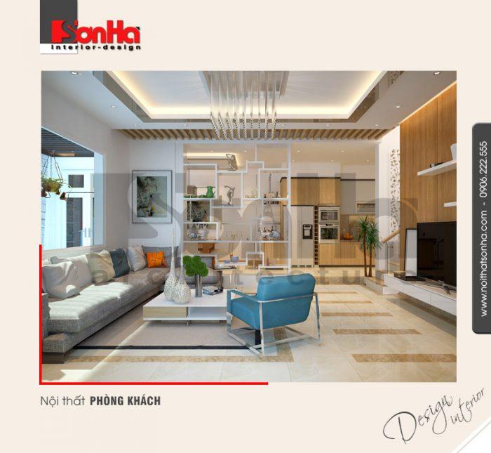 Phương án thiết kế nội thất phòng khách biệt thự hiện đại được sử dụng nhiều gam màu cá tính