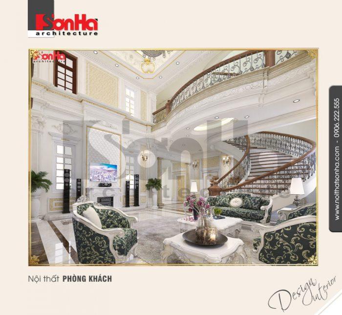 Mẫu nội thất biệt thự cổ điển sang trọng với gạch lát nền được lựa chọn kỹ càng và hợp thời