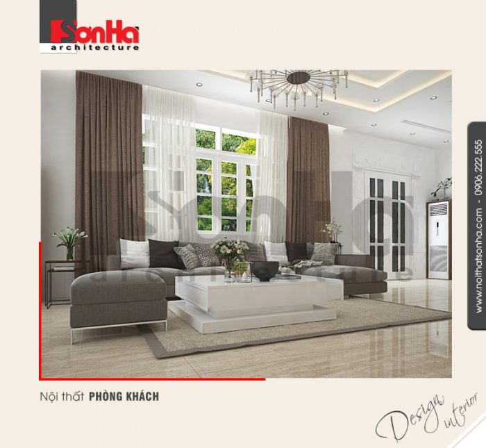 Thêm một minh hoạt cho cách lựa chọn thảm trải sàn phòng khách nội thất biệt thự kiểu hiện đại