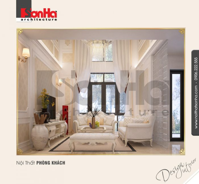 Mẫu nội thất phòng khách kiểu cổ điển đẹp với giấy dán tường được thi công chuẩn và nhanh