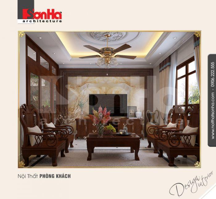 Mẫu thiết kế nội thất phòng khách cổ điển của nhà phố sang trọng và nổi bật bố cục mạch lạc