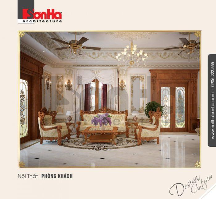 Thêm một ví dụ tham khảo cho cách lựa chọn gạch nền nội thất phòng khách biệt thự cổ điển