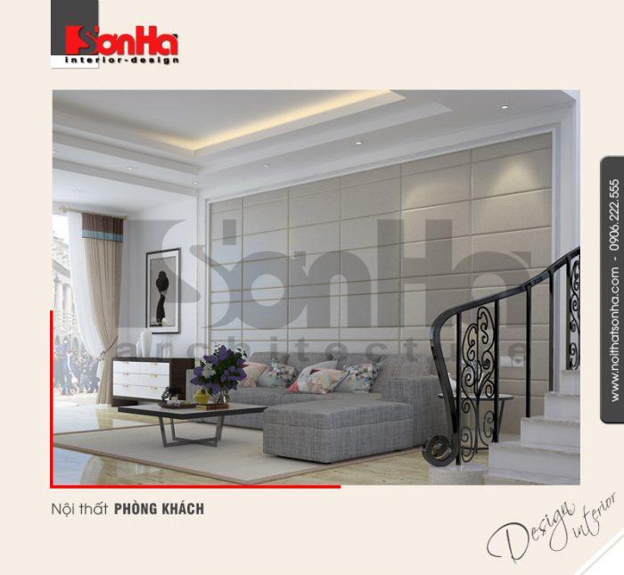 Mẫu nội thất phòng khách đẹp phong cách hiện đại với các vật dụng được bố trí khoa học