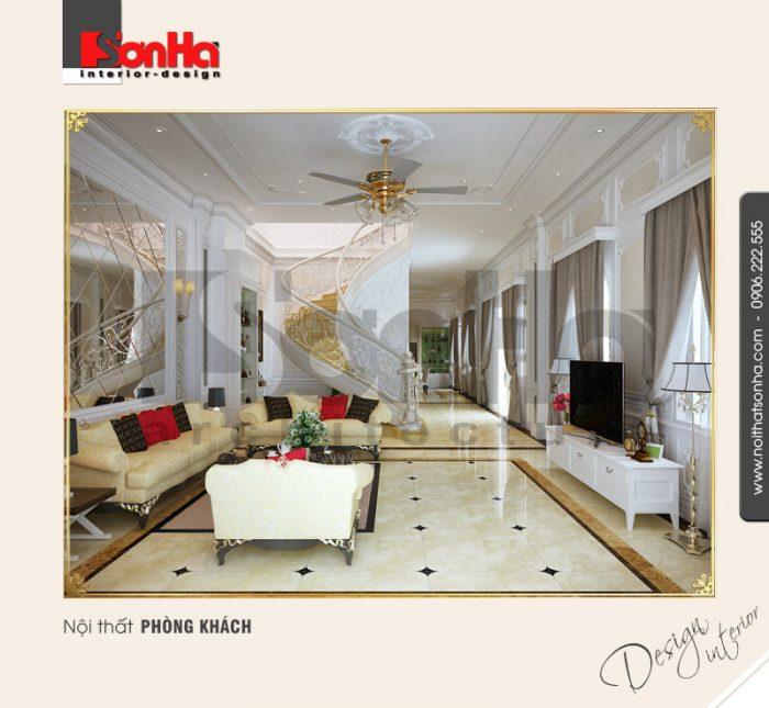 Mẫu phòng khách cổ điển biệt thự kiểu Pháp đẹp với gam màu thanh nhã đường nét tinh tế