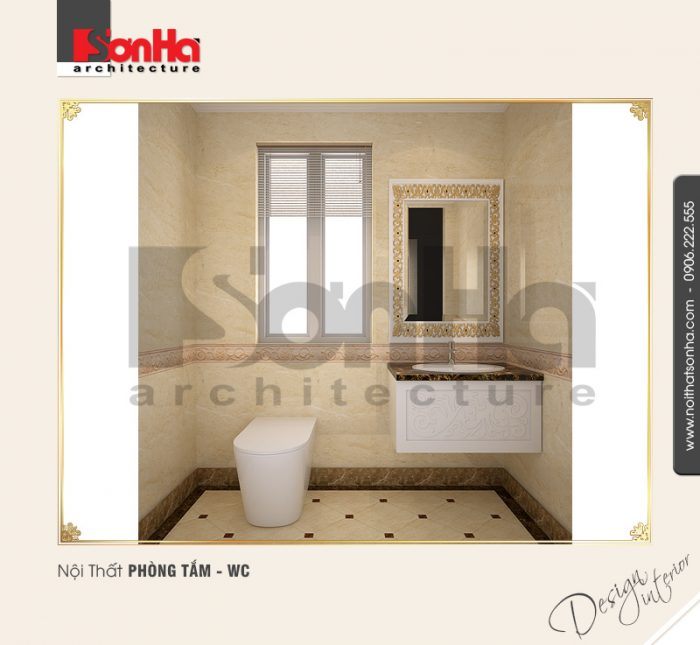 Việc lựa chọn thiết bị vệ sinh phù hợp về chủng loại màu sắc cho nội thất biệt thự Pháp đẹp