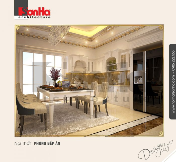 Không gian nội thất phòng bếp ăn căn hộ chung cư được bài trí đẹp phong cách cổ điển